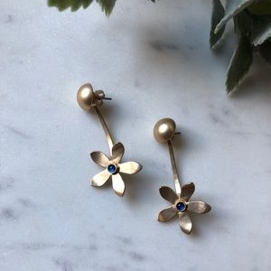 The Rita - Plated Gold Flower Drop Earrings